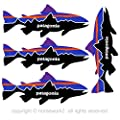 """Patagonia Fish Stickers, Mountains and Waves Built to Classic Vinyl Decal, UV Protected & Waterproof - 5"""" x 2"""" pack of 4 by Homework2"""