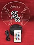White Sox Light Up Lamp LED With Remote Personalized Free (Multi-colored, 12 Inches)
