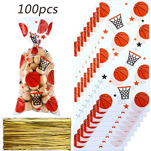 Blulu 100 Pieces Basketball Party Treat Bags Heat Sealable Treat Candy Bags Basketball Goodie Bags Sports Treat Bags with 100 Pack Gold Twist Ties for Basketball Treat Party Favor