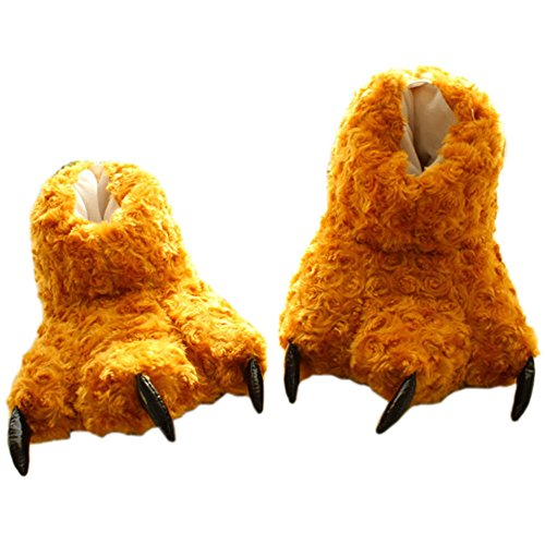 3ac6e2edd1e43 Mlotus Womens and Mens Animal Shoes Fuzzy Bear Claw Paw Slippers Brown  well-wreapped