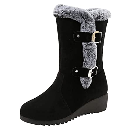 a7b935941484 Ankle Boots Women s Winter Snow Boot Leather Fur Lined Warm Boots Side  Zipper High Chelsea Shoes