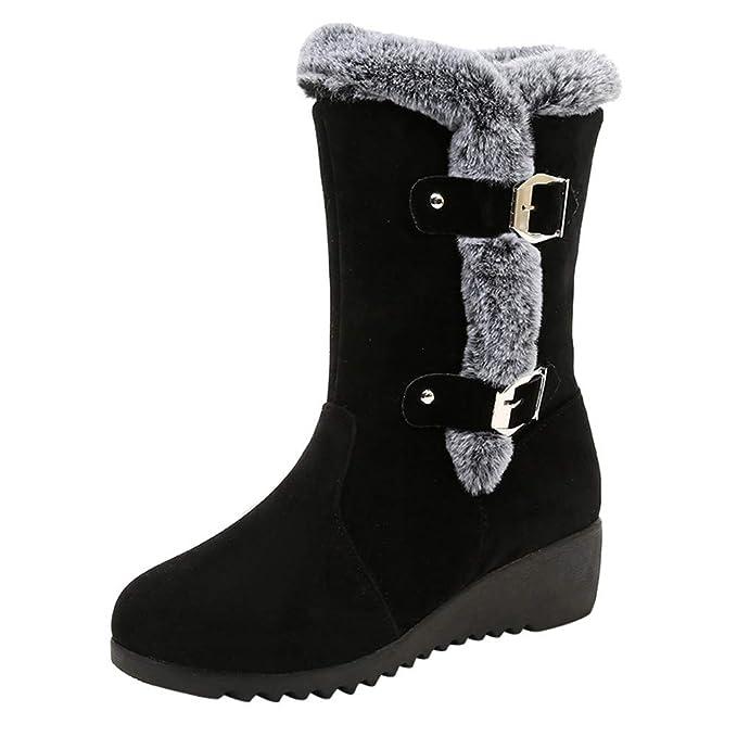 Julywe Damen Plateau Schneestiefel Schnalle Boots Winterstiefel Herbst  Winter Wasserdichte Stiefel mit Blockabsatz Wildleder Schuhe mit 3df1794cb9