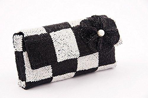 Borsa clutch, Antonella bianche e nere, in raso e perline, dimensioni in cm: 17 L x 8 H x 3 p