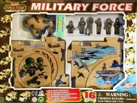 Puzzle Car Set -- Battery Operated Military Force Cargo (Military Aircraft Cargo)