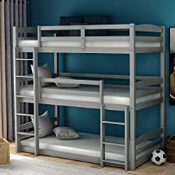 Bedroom Twin Triple Bunk Bed for Kids, Wood Twin Size Bunk Bed Frame with Guard Rail and Ladder, Triple Bunk Bed Can be Divided… bunk beds