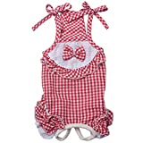 Cheap TONY HOBY Plaid Dog Pajamas Stylish Summer Pet Dog Overalls For Small Dogs