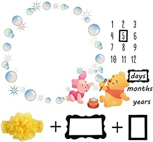 Baby Monthly Milestone Blanket Newborn Photo Props Shoots Backdrop Personalized Winnie The Pooh Blowing Bubbles Photography Growing Infants Toddlers Soft Fleece Swaddle Blanket