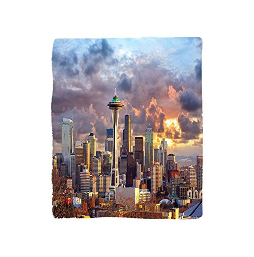 VROSELV Custom Blanket Apartment Collection Seattle Skyline At Sunset Wa Usa Sun Lights Through Dramatic Clouds Scene Soft Fleece Throw Blanket