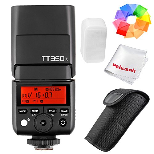 Godox TT350F 2.4G HSS 1/8000s TTL GN36 Camera Flash Speedlite for Fuji Cameras X-Pro2 X-T20 X-T2 X-T1 X-Pro1 X-T10 X-E1 X-A3 X100F X100T with Color Filters and PERGEAR Cleaning Cloth