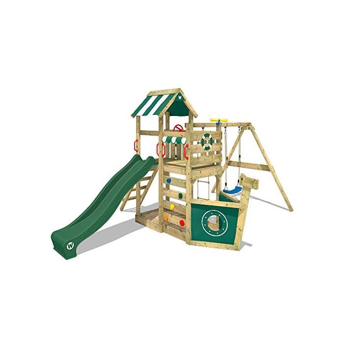 51ZoWPrJEGL WICKEY Torre de escalade para niños con tobogán, columpio, escalera de cuerda y caja de arena Poste 9x4,5cm - Poste de columpio 9x9cm - Madera maciza impregnada a presión Calidad y seguridad aprobada - Instrucciones de montaje sencillas y detalladas - Made in Germany