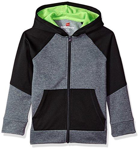 Ny Kids Hoodie - Hanes Boys' Big' Tech Fleece Full-Zip Raglan Hoodie, Stealth Heather/Black, Medium