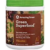 Amazing Grass Green Superfood: Organic Wheat Grass and 7 Super Greens Powder, 2 servings of Fruits & Veggies per scoop, Chocolate Flavor, 30 Servings