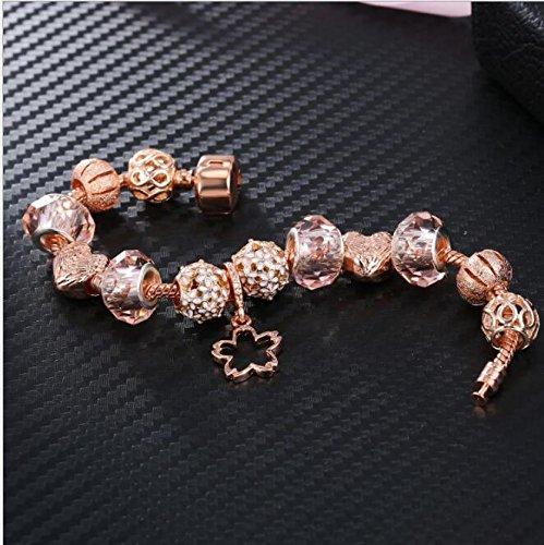 Yudanwin Necklace Beading Accessories DIY Jewelry Big Beads Alloy Beaded Bracelets(Approx.21CM)