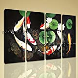 Large Abstract Feng Shui Painting Zen Wall Art Print Canvas Stretched Koi Fish Extra Large Wall Art, Gallery Wrapped, by Bo Yi Gallery 51