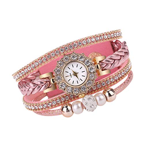 Kauneus  Women's Swarovski Crystal Accented Watch and Bracelet Set Women's Quartz Watch Gift Set Pink