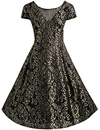 4a4b13452a0 Women s Retro Embroidered Floral Lace Dress Gorgeous Short Bridesmaid  Dresses with Cap Slee