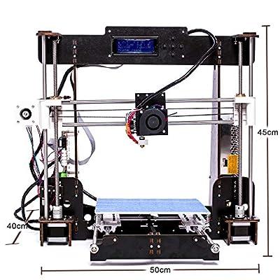 3D Printers, ZR-Printing A8 3D Printer DIY Wood Frame High Precision LCD Screen Desktop 3D Printer Kit with 1.75mm ABS/PLA Filament, Construction Measurement 220 ×220×240 mm