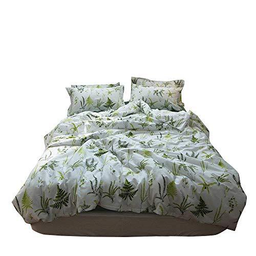 (Enjoylife Reversible Print Green Tree Duvet Quilt Cover for Boys Girls 100% Cotton Soft Breathable 3pc Bedding Set Full Queen Size)