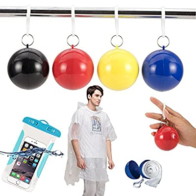4-pcs Travel Emergency Rain Poncho Disposable Raincoats Ball (Plus 1 Waterproof Phone Case) Hiking Camping Outdoor Necessity Backpack Accessories
