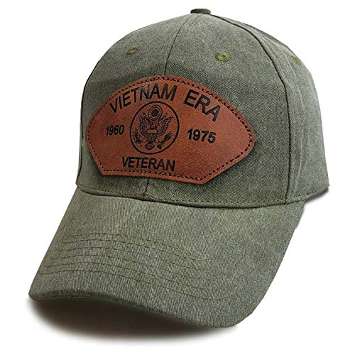 Vietnam Patch Veteran Hat - Vietnam Era Veteran Hat with Custom Leather Patch in Vintage O.D. Olive Drab