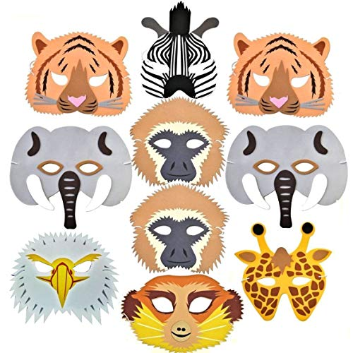 10 Woodland & Farm Animal Foam Childrens Face Masks Made by Blue Frog Toys]()