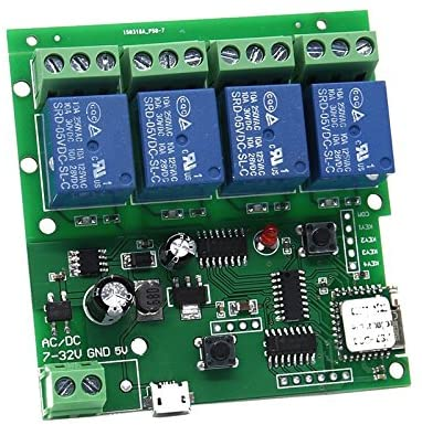 DC 5-32V Wireless Wifi Relay Switch 4 Channel 433mhz Remote Control Smart Home