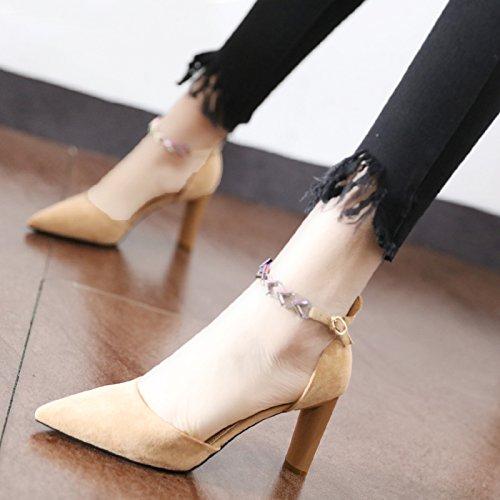 de Zapatos zapatos trabajar la la Qiqi Heel ranurada Negrita y Shoes solo color alta cadena punta van luz Corte a Beige Xue moda femenina de correa 5zpz8q