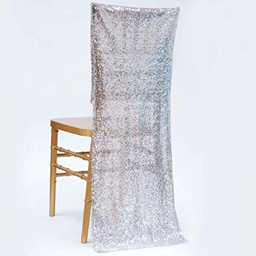 Efavormart Extravaganza Duchess Sequin Chair Slipcover - Silver (Chair And A Half Covers)