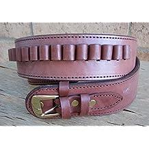 NEW! Brown Deluxe Cartridge Belt Genuine Leather SASS Gun Style 22 cal LC Ammo Loops Western Cowboy Gun Pistol By GUNS4US