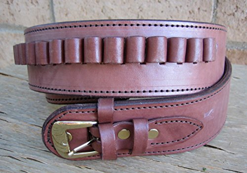 NEW! Brown Deluxe Cartridge Belt Genuine Leather SASS Gun Style 22 cal LC Ammo Loops Western Cowboy Gun Pistol By GUNS4US