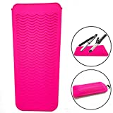 Heat Resistant Mat Pouch for Curling Irons, Hair Straightener, Flat Irons and Hair Styling Tools 11.5' x 6', Food Grade Silicone, Pink