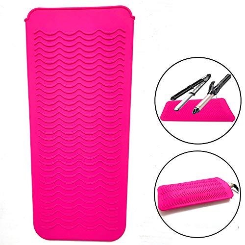"Heat Resistant Mat Pouch for Curling Irons, Hair Straightener, Flat Irons and Hair Styling Tools 11.5"" x 6"", Food Grade Silicone, Pink"