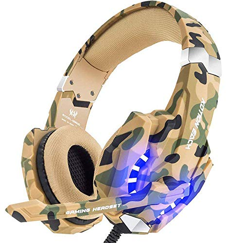 Video Games : BENGOO Stereo Gaming Headset for PS4, PC, Xbox One Controller, Noise Cancelling Over Ear Headphones Mic, LED Light, Bass Surround, Soft Memory Earmuffs for Laptop Mac Nintendo Switch –Camouflage