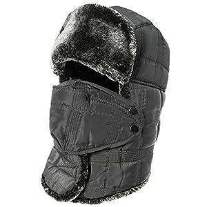 SIGGI Winter Grey Ushanka Russian Trapper Bomber Hat for Men Fur Lined Windproof Mask