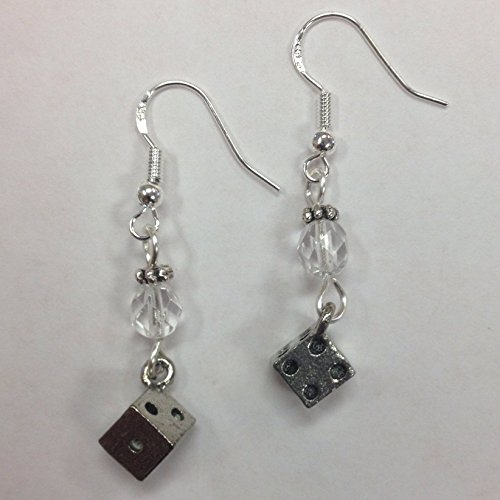 Bunco Dice Earrings, on Sterling Silver Earwires Dice Jewelry