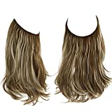 SARLA Hair Extension Halo Brown With Beach Blonde Highlight Curly Long Synthetic Hairpiece 16 Inch 3.9 Oz Hidden Wire Headband for Women Heat Resistant Fiber No Clip (M03&9H613)