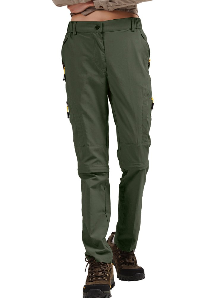 Hiking Pants Women Convertible Outdoor Lightweight Quick Drying Travel Cross Durable Stretch Pants, 4409,Army Green,36 by Toomett
