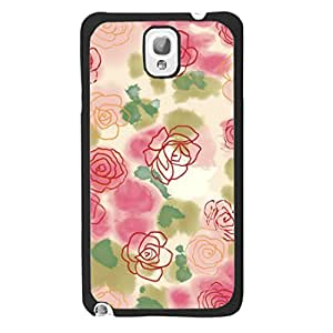 Beautiful Elegant Flower Floral Style Hard Case Cover for Samsung Galaxy Note 3 N9005 Plastic Snap on Phone Case Cover for Women (red paint flowers)