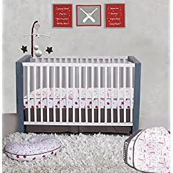 Bacati Sports Muslin 3pc Crib Set with 4 Muslin Layers Lux Dream Blanket (Baseball Red/Grey)