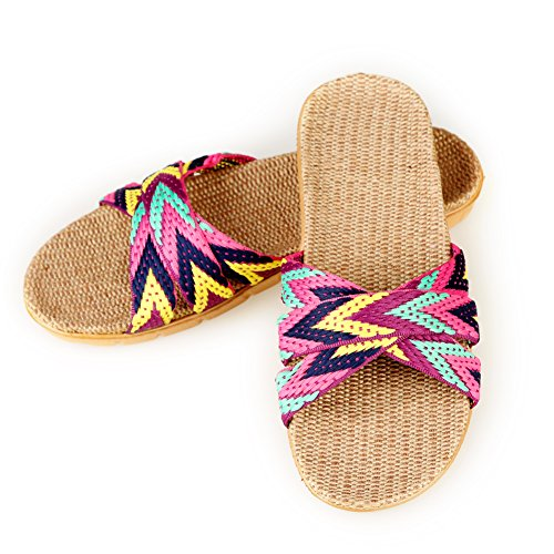 Anddyam Unisex Home Slippers Flax Men and Women House Slipper Open-Toe Breathable ((for Women) 6-6.5 B (M) US, Purple)