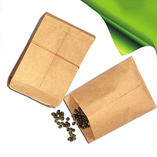 Kukakoo 100Pcs Vintage Kraft Paper Bags Hybrid Seed Corn Farm Pollen Bag Sack Pouch - Impatiens Full Sun