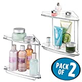 mDesign 2 Shelf Corner Storage Organizing Caddy Stand for Bathroom Vanity Countertops, Shelving or Under Sink – Free Standing, 2 Tiers – Pack of 2, Steel Wire Frame in Chrome/Clear Shelves