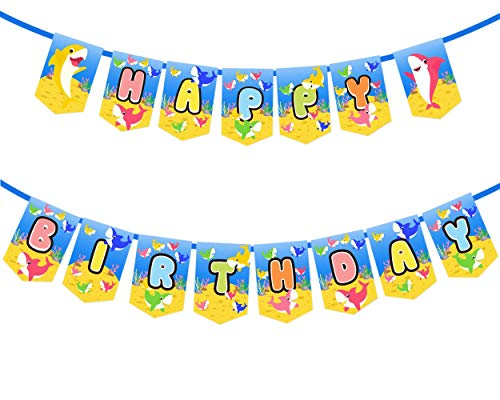 Baby Shark Happy Birthday Banner Party Supplies For Kids and Adults Birthday Party Decorations