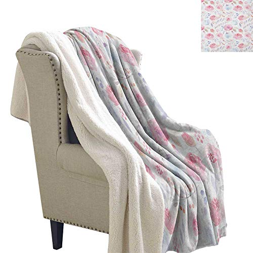 Suchashome Watercolor All Season Blanket Delicate Spring Pattern Blooming Roses Buds Leaves Feminine Romantic Lightweight Blanket 60x47 Inch Pale Pink Baby Blue