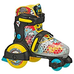 Get low with the fun roll. This youth quad skate features a low center of Gravity that is safe and great for beginners! the galaxy design on the boot along with blue and yellow accents will get your child in the mood to have fun! Roller Derby...