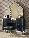 Hollywood Vanity Set Aico Hollywood Swank Vanity with Bench Set 3 Piece in Black Iguana by Michael Amini