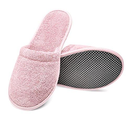 (Arus Women's Organic Turkish Terry Cotton Memory Foam Spa Slippers Pink X-Large)