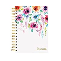 "Graphique Hanging Flowers Hard Bound Journal w/Watercolor Flowers on Cover, Beautiful Introspective Journal for Nature Lovers and Gentle Spirits, 160 Ruled Pages, 6.25"" x 8.25"" x 1"""