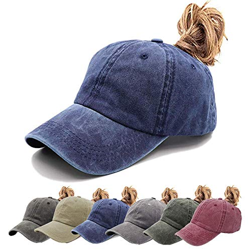 Aedvoouer Ponytail Baseball Hat Women Vintage Messy High Bun Washed Cotton Ponycaps Adjustable Trucker Hat (V-Navy(Ponytail hat))