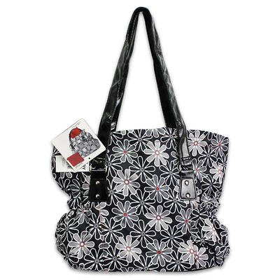 3pc Black Floral Print Diaper Bag with Red Changer & Red Pouch